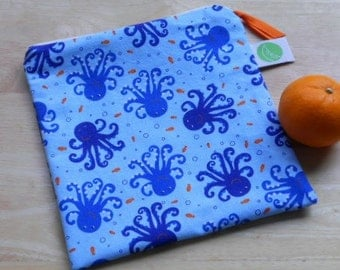 "Reusable Sandwich / Snack Bag - 7.5"" x 7.5""- Certified Food Safe PUL lined, Zippered, Machine Washable"