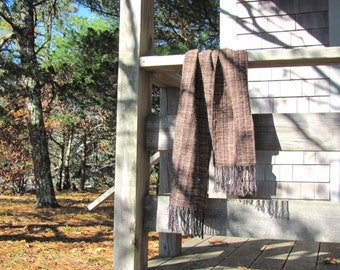 Long Mens Womens Fashion Dark Brown Woven Scarf, Fall Winter Rustic Mountain Woodland Cabin Country Fashion Accessory, Artisan Handmade USA