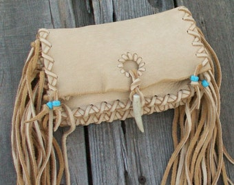 Fringed leather clutch,  small fringed purse , leather clutch , soft leather clutch