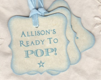 Ready To Pop Baby Shower Tags, Personalized Tags For Baby Shower, Blue Boy Baby Shower Favor Tags, Baby Favor Party Tags - Set of 20