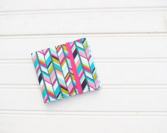 Multi color herringbone wallet