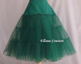 Ready To Ship. DISCOUNTED  pricing. EMERALD Tea Length Crinoline. Medium Fullness. Size LARGE.