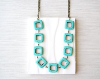 Long Turquoise Necklace - Geometric Jewelry, Boho, Bohemian, Semi Precious Stone, Antiqued Brass, Gold Tone, Statement