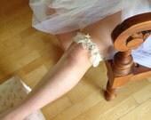 Ivory Wedding Garter Set - Satin, Chiffon, Sea Shells, Rhinestones, Pearls, Beads