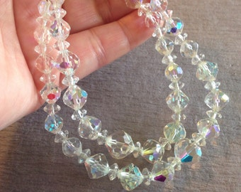 1950s Crystal Necklace Double Strand Beads