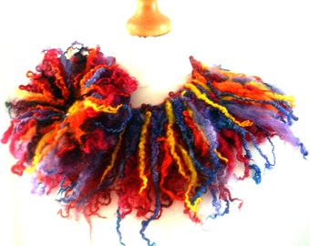 Felted 100% wool  curly  collar