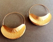 Gold Leaf Earrings,Fulani hoops,Minimalistic jewelry,Natural earrings,22K Gold plated Jewelry by Taneesi