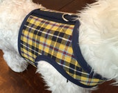 Summer Plaid Small Dog Harness, Yellow, Blue, Made in USA
