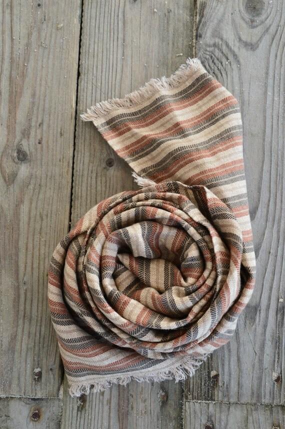 Brown Scarf | Women Men Linen Scarf | Spring Scarf | Linen Accessories | Stripped Scarf | Handmade Scarf | Brown Linen