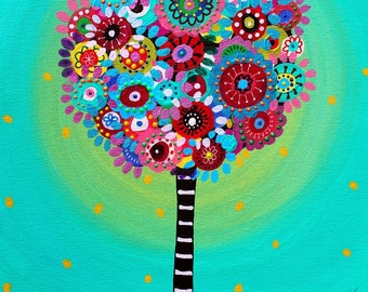 Folk Art Pristine Whimsical Tree of Life Courage  Flowers Florals Prisarts Original Painting 11 X 14