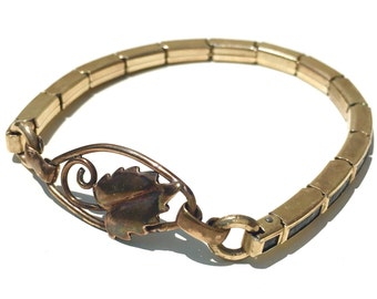 Gold & Black Stretch Spiedel Watch Band Bracelet With Gold Leaf Design Charm Upcycled Vintage Watch