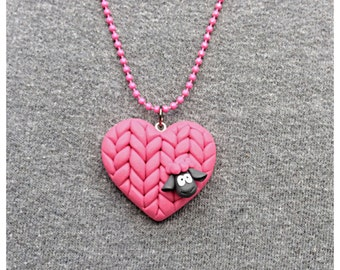 Sheep Heart Pink Polymer Clay Knit Chunky Necklace or Pendant or Ornament