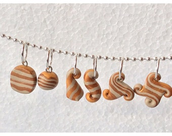 Polymer Clay Stitch Markers, 6 Abstract Shapes, Gold Metallic and Beige Stripe