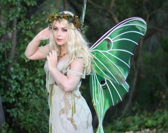 Giant Luna Moth Painted Iridescent Fairy Wings, Ready to Ship