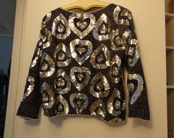 Black silk top embellished with sequins  vintage