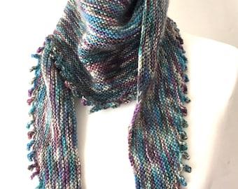 Hand knitted shawl  shawlett wool scarf