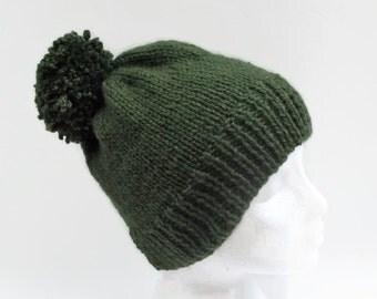 Hand knitted Pom Pom Hat, green  Pom Pom Hat Ski hat