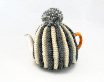tea cozy hand knitted cosy cream and gray