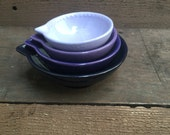 Shades of Purple Nesting Ceramic Measuring Cups - Ombre - 1 Cup, 1/2 Cup, 1/3 Cup, 1/4 Cup - Lavender / Grape / Eggplant