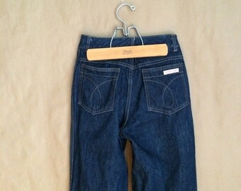 vintage 1980's high waist denim jeans / mint condition / 1980's Calvin Klein jeans / dark denim / vintage designer jean