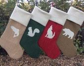 Burlap Christmas Stockings- Simple, Rustic, Chic, Custom- You Design