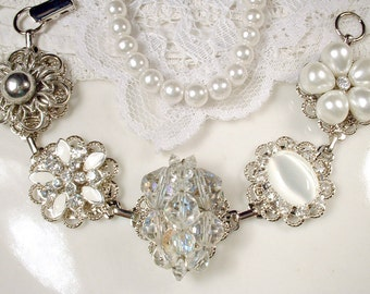 OOAK White Ivory Pearl Bridal Bracelet, Crystal Rhinestone Silver Bridesmaid Bracelet, Old Hollywood Glam Vintage Cluster Earring Wedding
