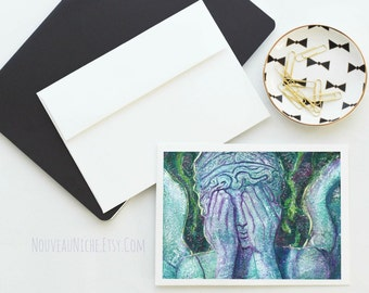 Weeping Angel Card, Dr. Who Note Card, Doctor Who Stationary Card, Blank Card, Angel, Whovian, Art Card