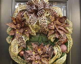 Leopard Christmas Wreath, Poinsettia Wreath, Brown and Gold Leopard Wreath, Christmas Door Wreath, Holiday Wreath, Animal Print