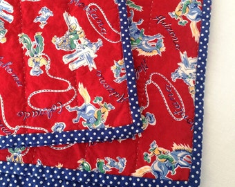 Baby Quilt ~ Cowboy ~ Retro Western ~ Baby Boy Quilt ~ Red and Blue Quilt ~ Hand Quilted ~ Wholecloth ~ 42 x 34
