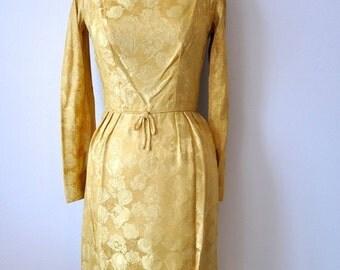 "ON SALE Vintage 50's Gold Brocade Wiggle Cocktail Party Dress sz. XS 26"" Waist"