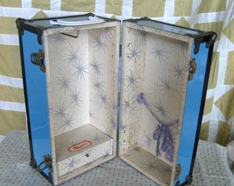 Vintage Blue Doll Trunk, Doll Case, Studio Decor, Girls Room Doll's Storage Steamer Trunk, Storage Drawer Cass Toys