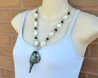 Hemp Necklace With Glass Shell Pendant, Cowrie Shells, Gemstone Jewelry, Gift for Her, Nature Lover