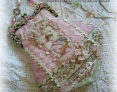 Antique Style Victorian Edwardian Romantic Pink Silk Purse  - Jeweled Frame - Antique Lace - Lavish Ribbonwork Flowers