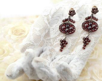 Impressive Vintage garnet earrings w/14ct gold studs in Art-Deco style    ГРАНАТ