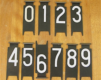 Vintage Cash Register numbers, set, metal, black white