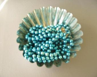 Vintage Mercury Glass Beads, Mercury Glass bead garland, aqua, blue