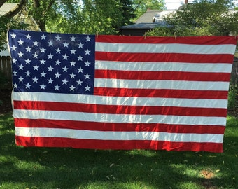 Vintage 50 star US flag, valley forge, cotton, bunting, large