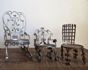 Instant Collection - 3 Antique Miniature Folk Art Tin Can Chairs