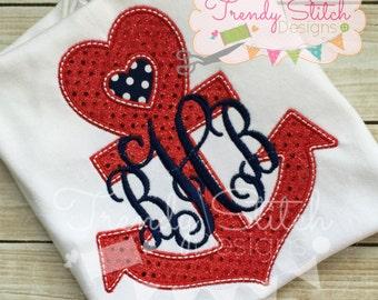 Anchor Heart Applique Design Machine Embroidery Design INSTANT DOWNLOAD