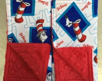 Burp Towels - Dr. Seuss Cat in the Hat Flannel and Red Dimple Minky (set of 2)