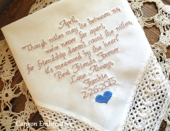 Good Wedding Gifts For Friends: Best Friend Gift Personalized Ivory Hanky Embroidered Wedding