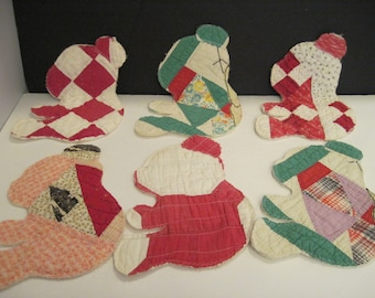 6 Teddy Bear Patchwork Quilted Appliques, Cheater Quilt