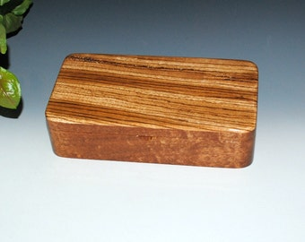 Handmade Wooden Box With a Tray - Zebrawood on Mahogany by BurlWoodBox - Wood Jewelry Box, Wood Stash Box, Handmade Wood Box by BurlWoodBox