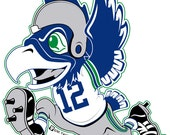 "4"" Seahawk Football Throwback Sticker"
