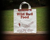 Cardinal Tote, Bird Seed Tote, Recycled Feedsack, Feed Sack Bag, Bird Seed Bag, Feedsack Tote, Grocery Bag, Feedsack Bag, Plastic Bag
