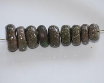 Ceramic Beads Handmade beads clay  Beads  rondelle beads earthy tribal beads artisan beads porcelain beads jewlery supplies potterygirl