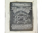 Framed 11 x 14 Chalkboard Art Sign Personalized Family Name Sign