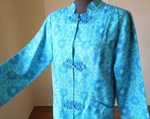 Vintage Blue Long Jacket or Tunic, 60's Asian Style Coat, Turquoise and Teal Paisley Medallion Print, Women's Size Small to Medium
