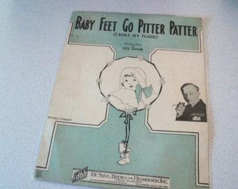 Vintage 1920s Sheet Music. Baby Feet Go Pitter Patter. For Ukulele or Banjo. Great Baby Shower Gift.