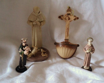 Four Vintage Catholic Religious Icons Instant Collection St. Francis, Jesus on Cross